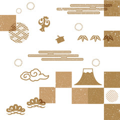 Japanese background pattern vector.Gold geometric decorative element, poster, card design, template, bamboo icon.