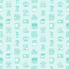 Kitchen small appliances equipment blue seamless pattern flat line icons. Household cooking tools - blender, mixer, food processor, coffee machine, microwave, toaster. Linear signs electronics store.