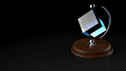 3D rendering. Table gift cube.