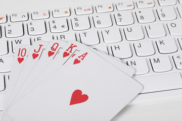 Playing cards against computer keyboard