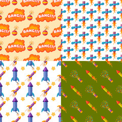 Fireworks pyrotechnics rocket and flapper birthday party gift celebrate seamless pattern vector illustration background festival