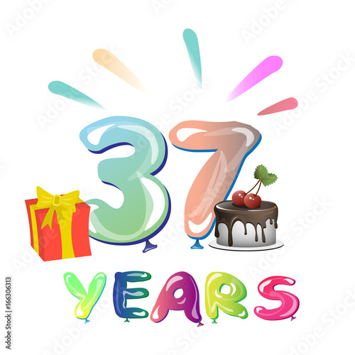 37th Happy Anniversary Celebration Stock Image And Royalty Free