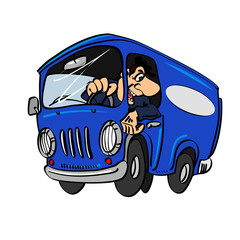 Cartoon blue bus with a driver.