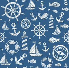 Nautical background, seamless, dark blue, vector. The attributes of a sea voyage on a dark blue background. White pictures drawn with diagonal hatching. Vector pattern.
