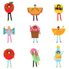 People wearing fast food healthy snacks costumes set, men and women advertising menu of restaurants and cafes colorful characters vector Illustrations