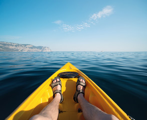 Kayaking on the sea. Concept and idea of active life