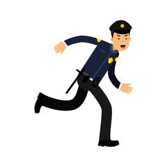 Police officer character in a blue uniform running vector Illustration