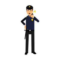 Police officer in a blue uniform talking on a radio, colorful character vector Illustration