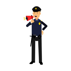 Police officer character in a blue uniform shouting using megaphone colorful vector Illustration