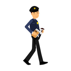 Police officer character walking with coffee and documents colorful vector Illustration