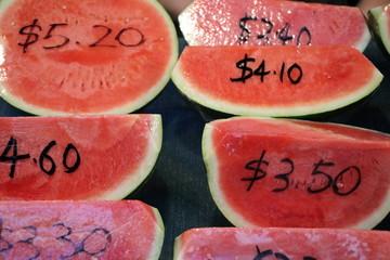 Fresh Watermelon for sale on the weekly market in Fremantle, Australia