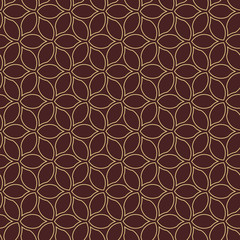 Seamless brown and golden background for your designs. Modern ornament. Geometric abstract pattern