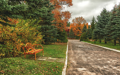 Lonely autumn landscape with benches and expensive.