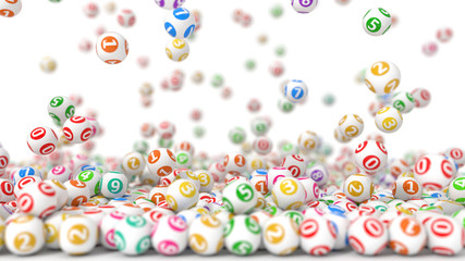 3d illustration of falling lottery balls