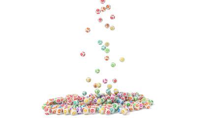 3d illustration of lottery balls stack
