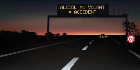 autoroute - signalisation routière - panneau - alcool - sécurité routière