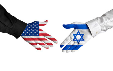 United States and Israel leaders shaking hands on a deal agreement