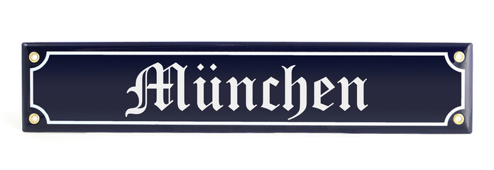 Metal banner with city name Munich