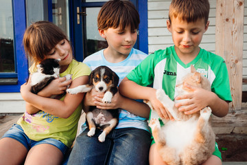 Three children sit with cats and dogs on their knees