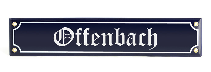 Metal banner with city name Offenbach (Germany)