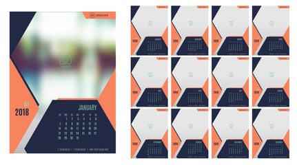 Vector of Calendar 20118year ,12 month calendar with modern navy blue color style,week start at Sunday,Template for place your photo
