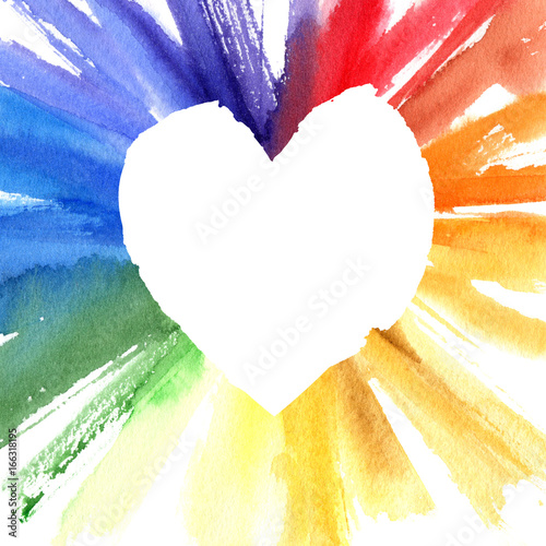 Watercolor Color Wheel Heart Frame Greeting Card With Copyspace For Your Design
