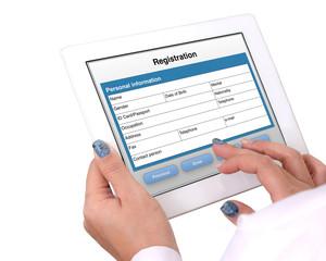 Registration form on tablet computer.