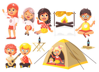 Vector illustration isolated cartoon characters children boy sings playing guitar, girl scouts in tent waving hand sits with fork and knife near fire, fried chicken, white background flat style