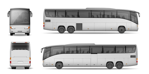 Realistic City Bus Template Isolated On White Background Passenger