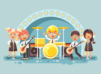 Vector illustration children music band musical group characters schoolboy schoolgirl pupils apprentices play guitars drums sing solo microphone back vocals rock concert on stage in flat style