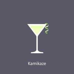 Kamikaze cocktail icon on dark background in flat style