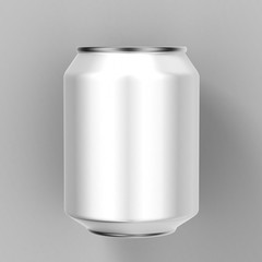 light and shiny aluminum cans for beer and soft drinks or energy. Packaging 330 ml. Object, shadow, and reflection on separate layers.