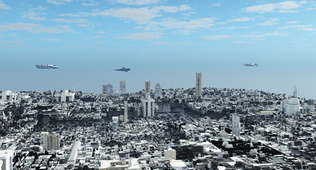 Patrol Ships Flying over a Future City - science fiction illustration