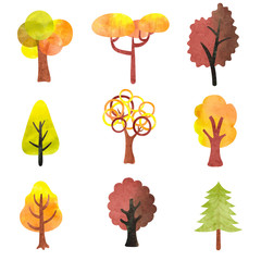 Set of watercolor autumn trees. Colorful symbols for your design. Vector illustration.