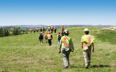 Group of workers in hardhats walking and inspecting grass field