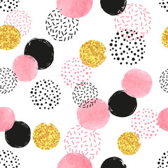 Seamless dotted pattern with pink, black and golden circles. Vector abstract background with round shapes.