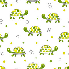 Green watercolor tortoise seamless pattern. Vector background with cartoon turtles.