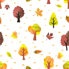 Seamless pattern with watercolor autumn trees. Vector autumn forest background.