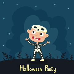 Vector cute cartoon kid in colorful halloween costume: skeleton. Halloween poster with night landscape. Cartoon character design of boy isolated on white used for books, stickers, posters, web pages.