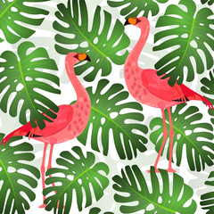 Flamingo pattern and green tropical leaves