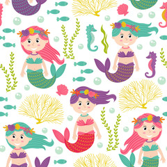 seamless pattern with mermaid under the sea -  vector illustration, eps