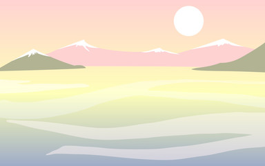 Flat vector landscape with mountains, water and moon/sun