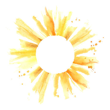 Sun with watercolor splashes and drops. Hand drawn circle frame. Sun shape border with copyspace