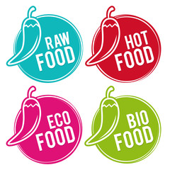 Wall Mural - Set of Eco food Badges. Raw, Hot, Eco and Bio Food. Vector hand drawn Signs. Can be used for packaging Design.
