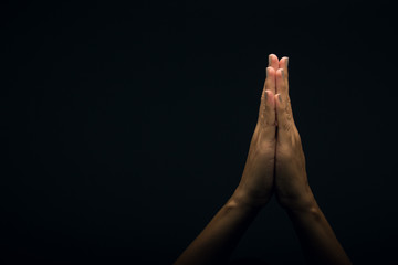 Language of the hands, signaling to pray