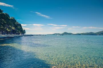 Adriatic Sea Croatia Europe. Landscape and nature. Ocean blue sky. Warm summer day