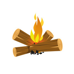 Campfire burning logs isolated vector illustration