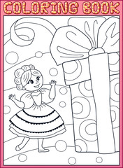 Coloring book. Cute little young princess girl with a huge birthday gift box. Cartoon vector illustration