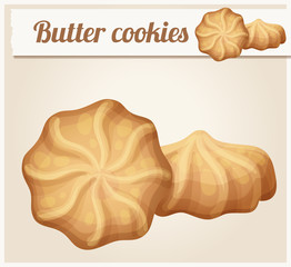Butter cookies illustration. Cartoon vector icon. Series of food and drink and ingredients for cooking.