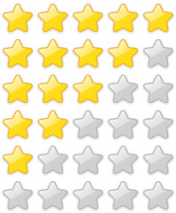 Glossy 5 Star Rating Sticker Set isolated on white background. Vector EPS10